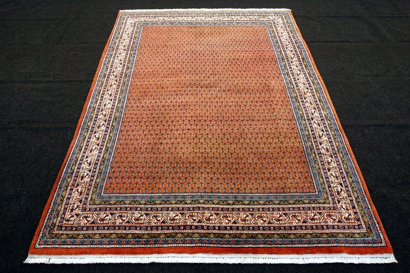 orient teppich indo mir 240 x 180 cm rotrost handgekn pft red carpet rug tappeto ebay. Black Bedroom Furniture Sets. Home Design Ideas