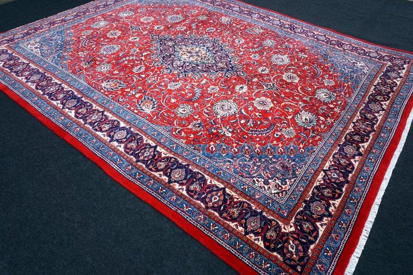 orient teppich rot blau 365 x 285 cm perserteppich handgekn pft red blue carpet ebay. Black Bedroom Furniture Sets. Home Design Ideas