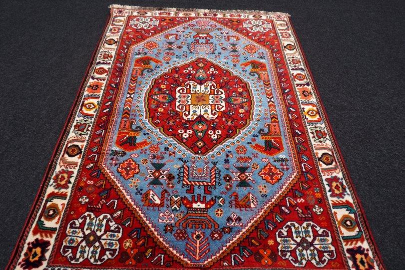 Orientteppich blau  Orient Teppich Blau 164 x 116 cm Rot Perserteppich Handgeknüpft ...