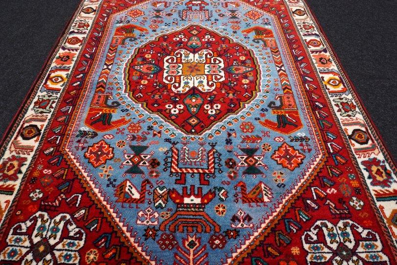 Orient Teppich Blau 164 X 116 Cm Rot Perserteppich Handgeknupft