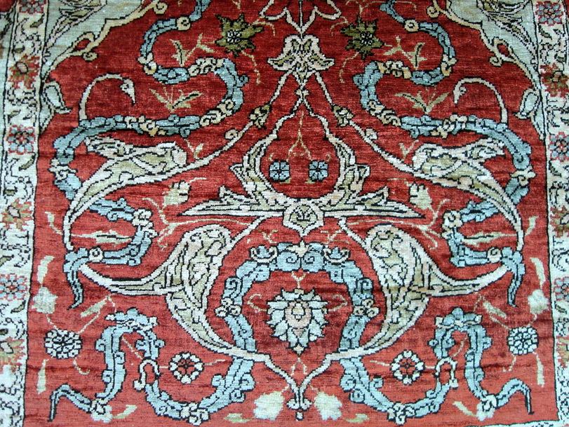 seidenteppich hereke seide t rkei 74 x 51 cm orient teppich old turkish silk rug ebay. Black Bedroom Furniture Sets. Home Design Ideas